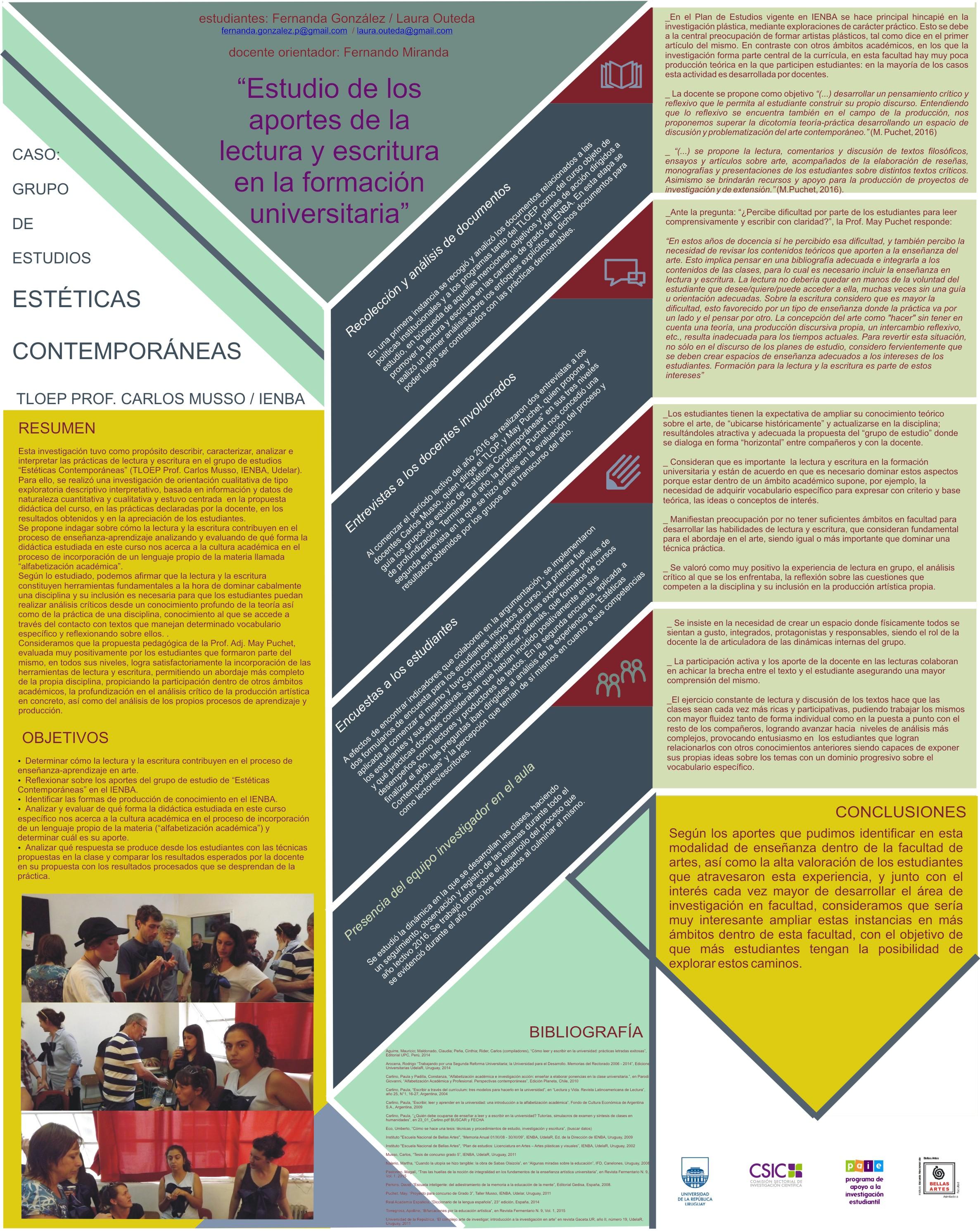 """[IENBA] Estudio de los aportes de la lectura y escritura en la formación universitaria a través del análisis del curso """"Estéticas Contemporáneas"""" del Instituto 'Escuela Nacional de Bellas Artes' de la Universidad de la República."""